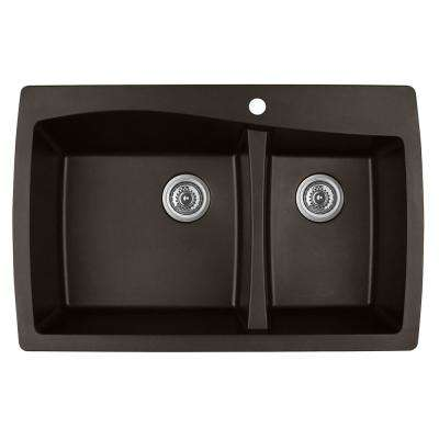 Drop-In Quartz Composite 34 in. 1-Hole 60/40 Double Bowl Kitchen Sink in Brown