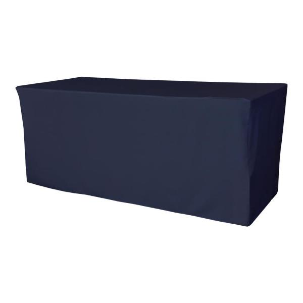 96 in. L x 30 in. W x 30 in. H Navy Blue Polyester Poplin Fitted Tablecloth