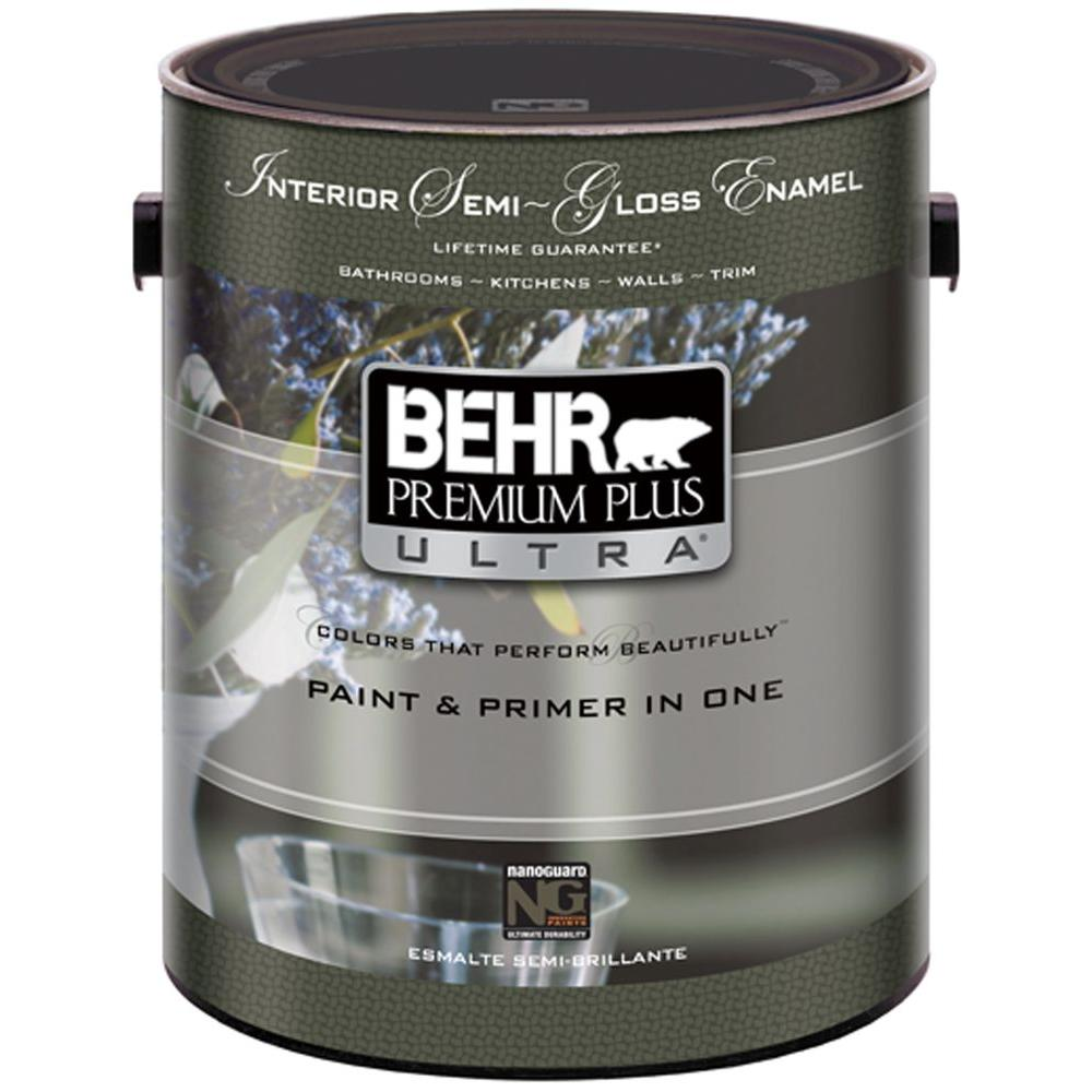 Behr premium plus ultra 1 gal pure white semi gloss interior 375001 the home depot Best indoor paint brand