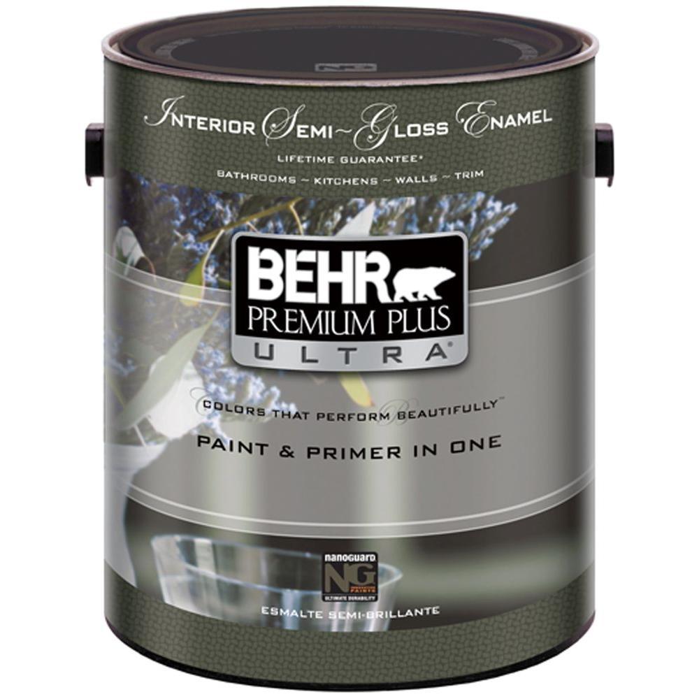 BEHR Premium Plus Ultra 1-gal. #UL3752 Ultra White Semi-Gloss Interior Paint-DISCONTINUED