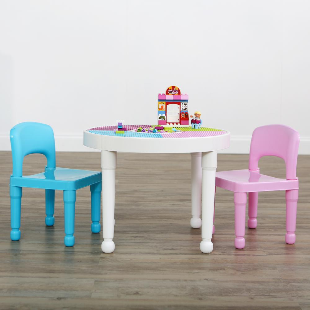 Bright Colors 2-in-1 Plastic LEGO-Compatible Kids Activity Table and 2 Chairs