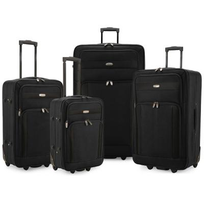 Cedar 4-Piece Black Softside Lightweight Rolling Luggage Set