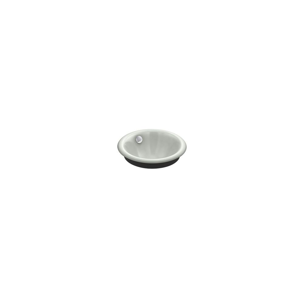 Iron Plainsround Vessel/Drop-In/Under-Mount Bathroom Sink in White with Iron