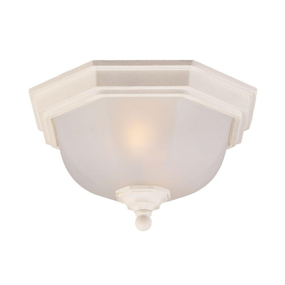 Acclaim Lighting Flushmount Collection Ceiling-Mount 2-Light Textured White Outdoor Light Fixture