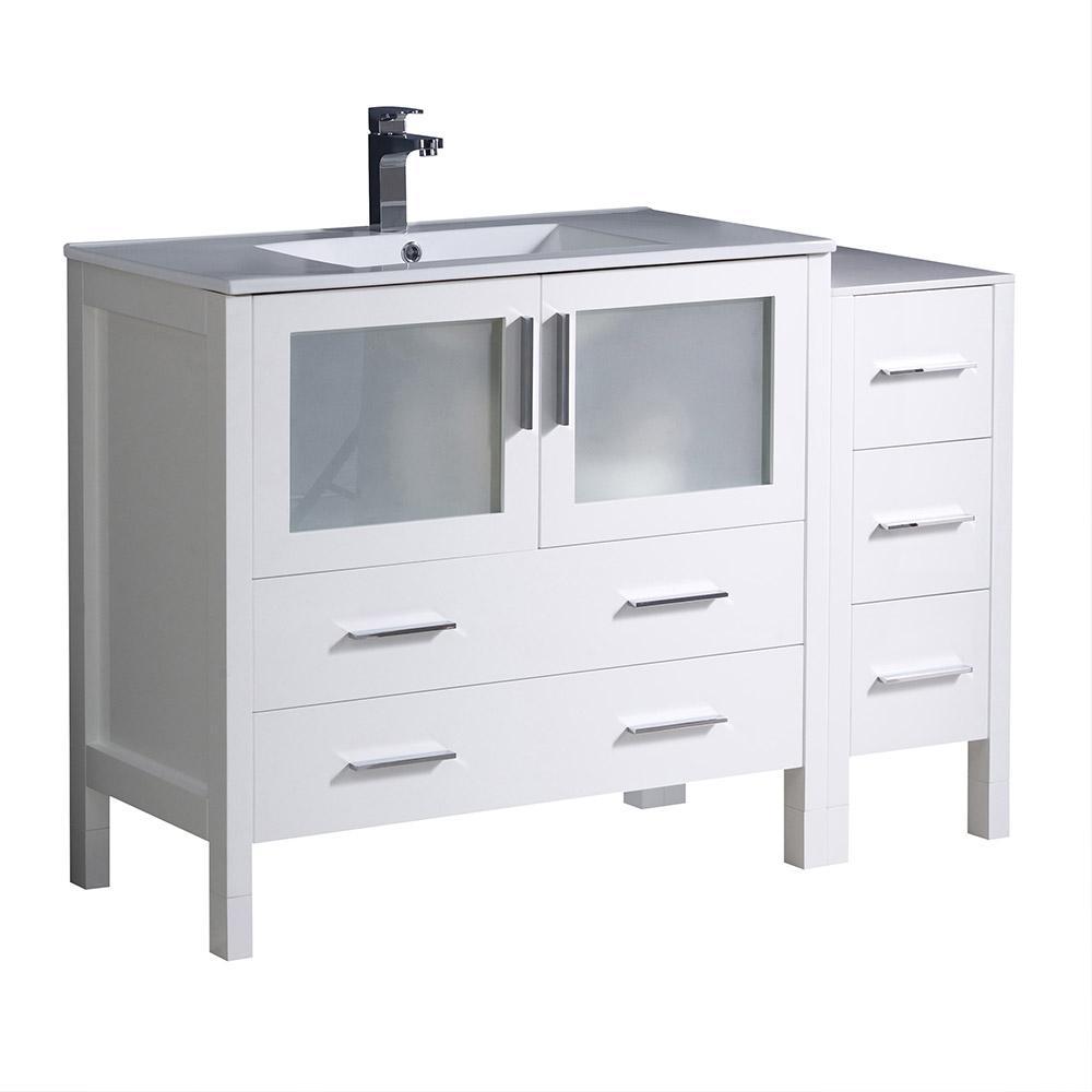 Fresca Torino 48 in. Bath Vanity in White with Ceramic Vanity Top in White with White Basin