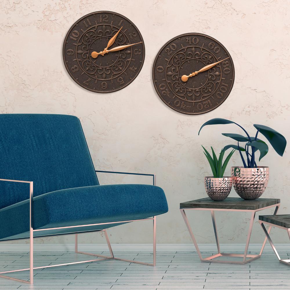 Indoor Outdoor Wall Thermometer in Bronze Verdigris Whitehall 16 in