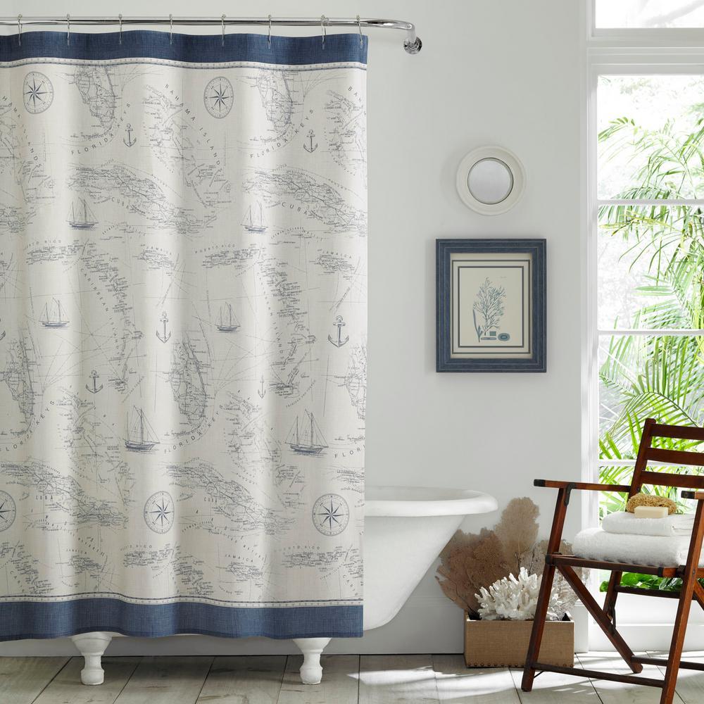 Caribbean Sea Blue Cotton 72in. X 72in. Shower Curtain