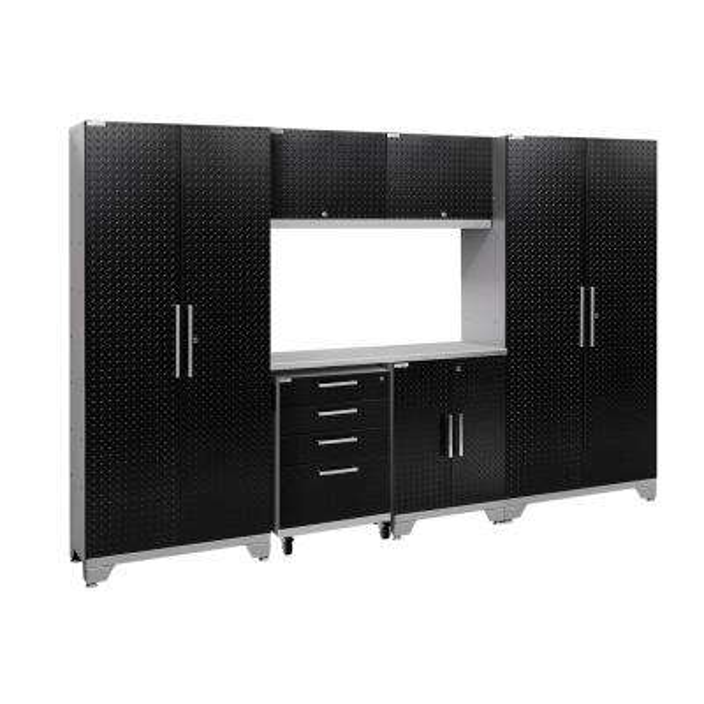 Performance 2.0 Diamond Plate 77.25 in. H x 108 in. W x 18 in. D Steel Garage Cabinet Set in Black (7-Piece)