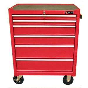 Click here to buy Excel 27 inch 6-Drawer Steel Roller Cabinet Tool Chest in Red by Excel.