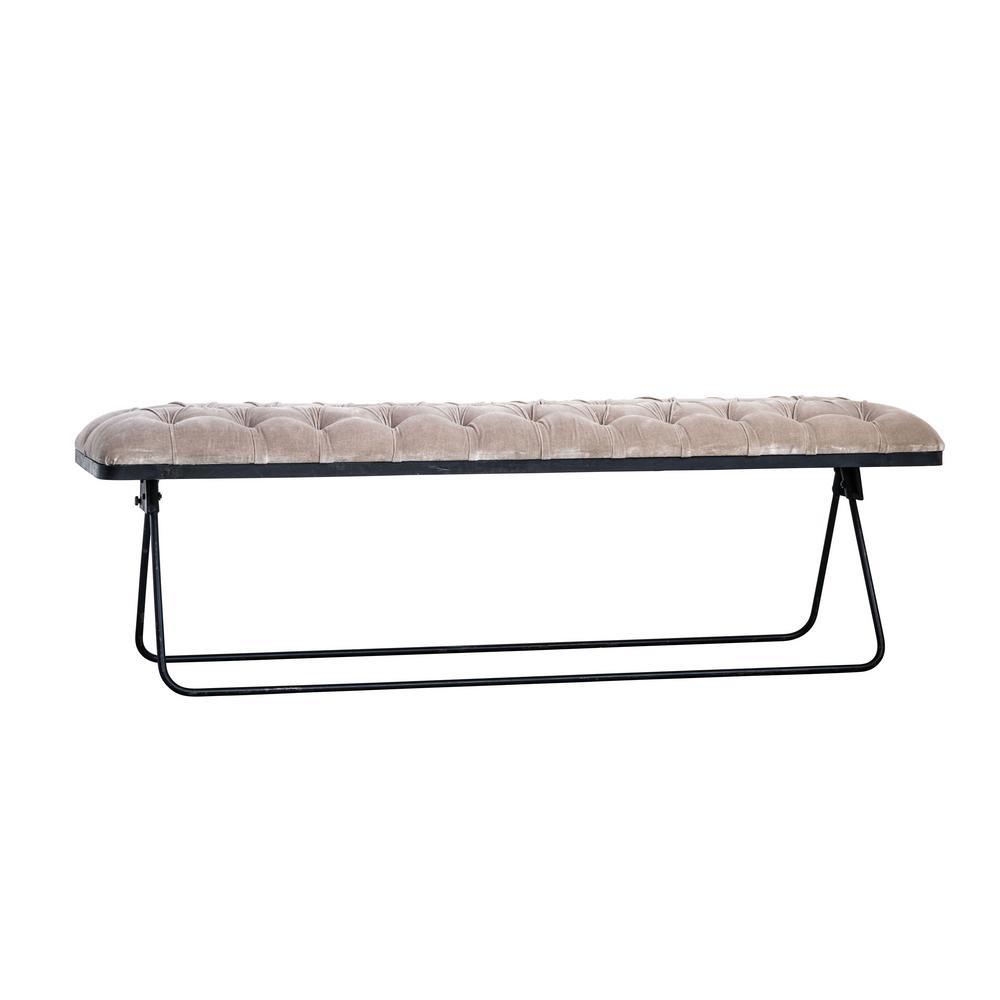 Taupe Velvet and Black Foldable Bench