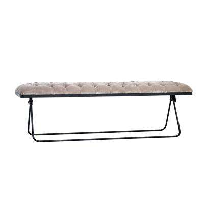 Taupe Velvet and Black Foldable Bench