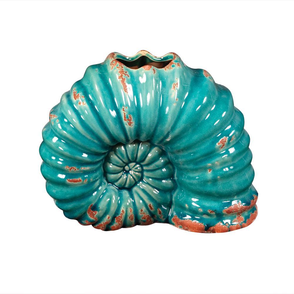 Turquoise Shell Shaped Ceramic Decorative Vase
