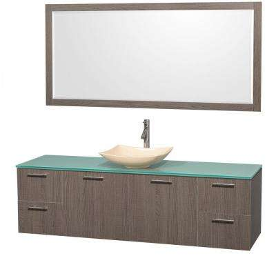 Amare 72 in. Vanity in Gray Oak with Glass Vanity Top in Green, Marble Sink and 70 in. Mirror