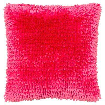 Butter Chenille 18 in. x 18 in. Rose Pink Decorative Pillow