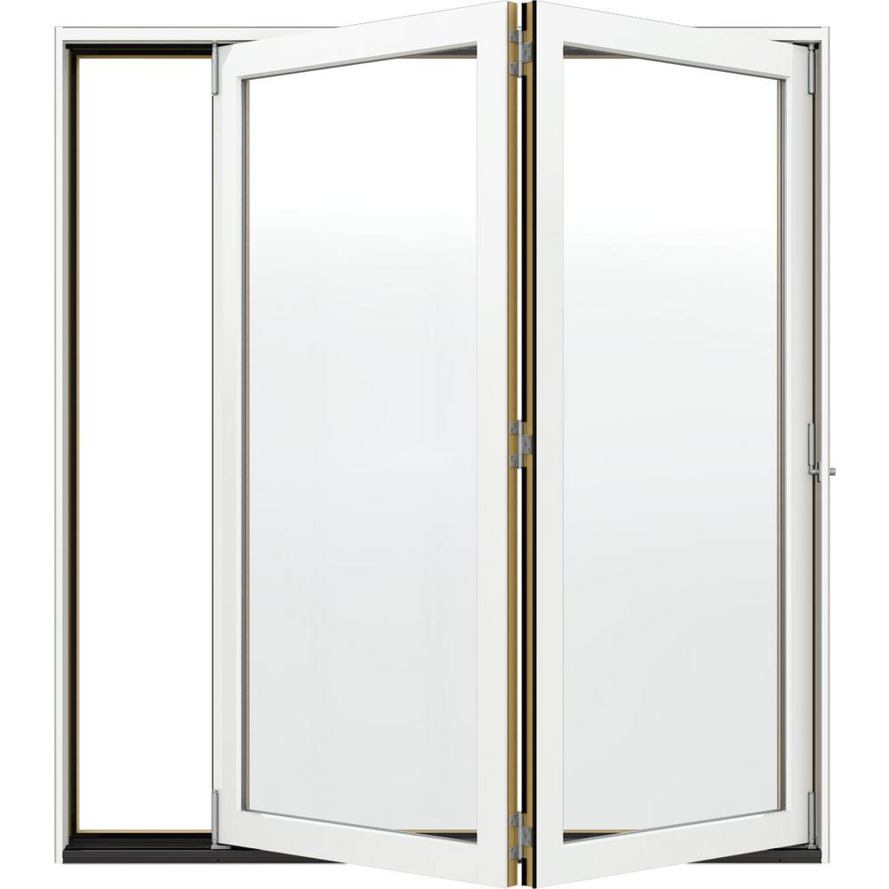 JELD-WEN 72 in. x 80 in. W-4500 White Clad Wood Left-Hand Full Lite Folding Patio Door w/Unfinished Interior