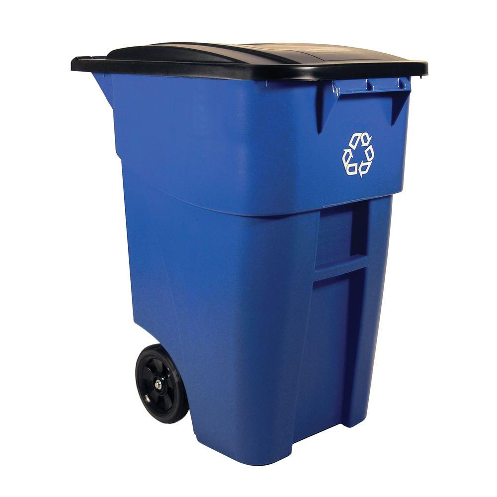 Rubbermaid Commercial Products Brute 50 Gal. Blue Rollout Recycling Trash Container with Lid