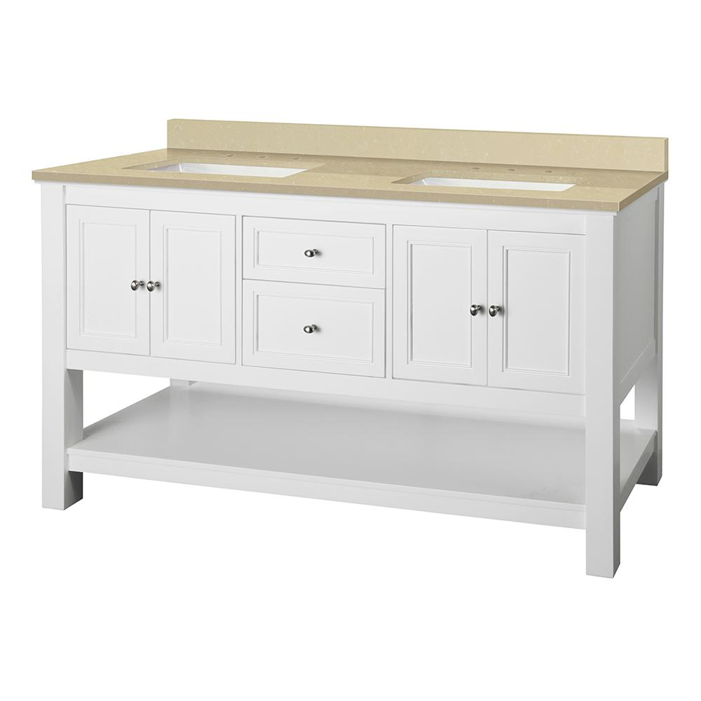 Home Decorators Collection Gazette 61 in. W x 22 in. D Vanity in White with Engineered Marble Vanity Top in Crema Limestone with White Sink