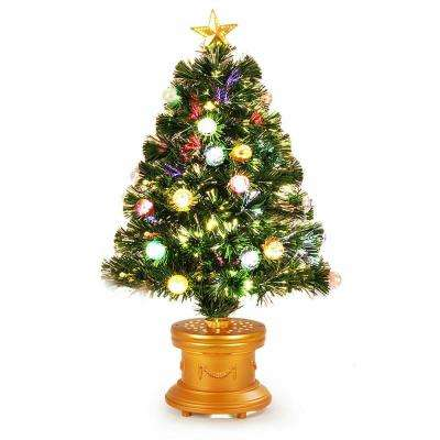 3 ft. Pre-Lit Christmas Tree Fiber Optical Firework with Ornaments and Gold Top Star