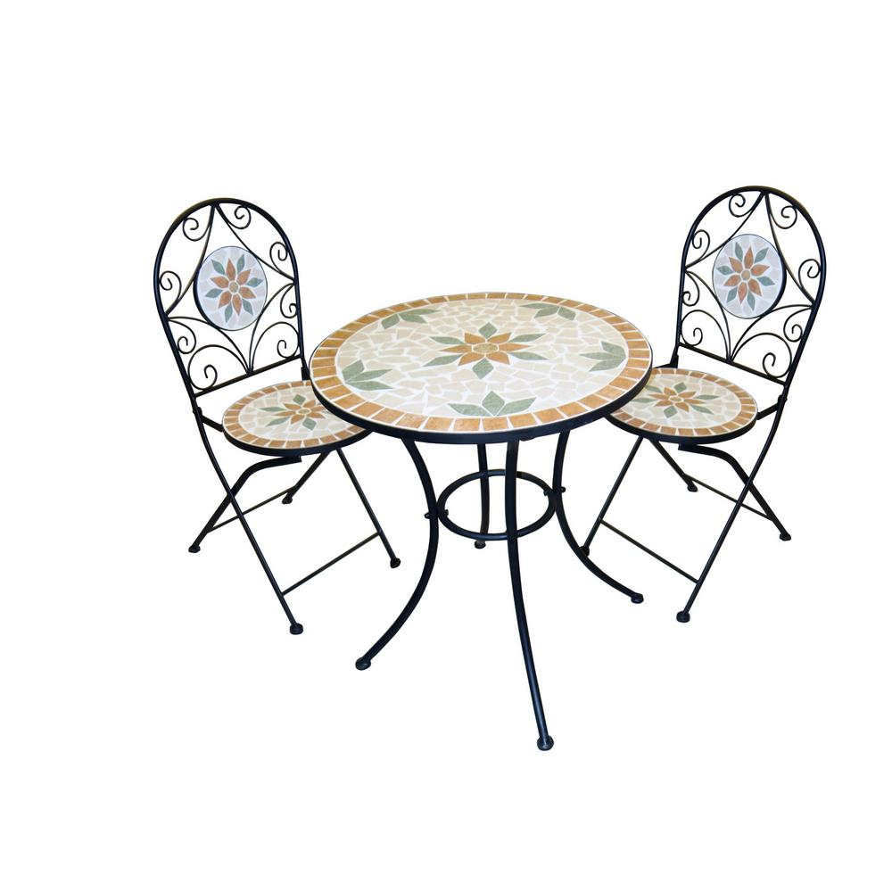 White Mosaic 3-Piece Iron Patio Bistro Set
