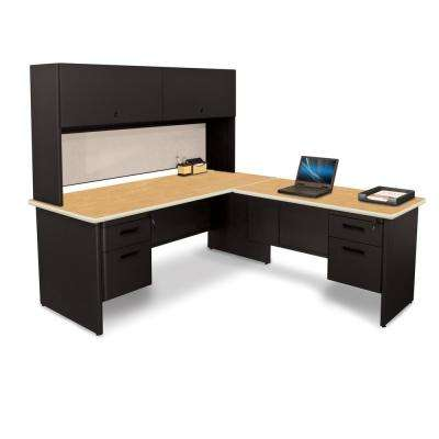 72 in. W x 78 in. D Black and Oak Chalk Desk with Return and Pedestal