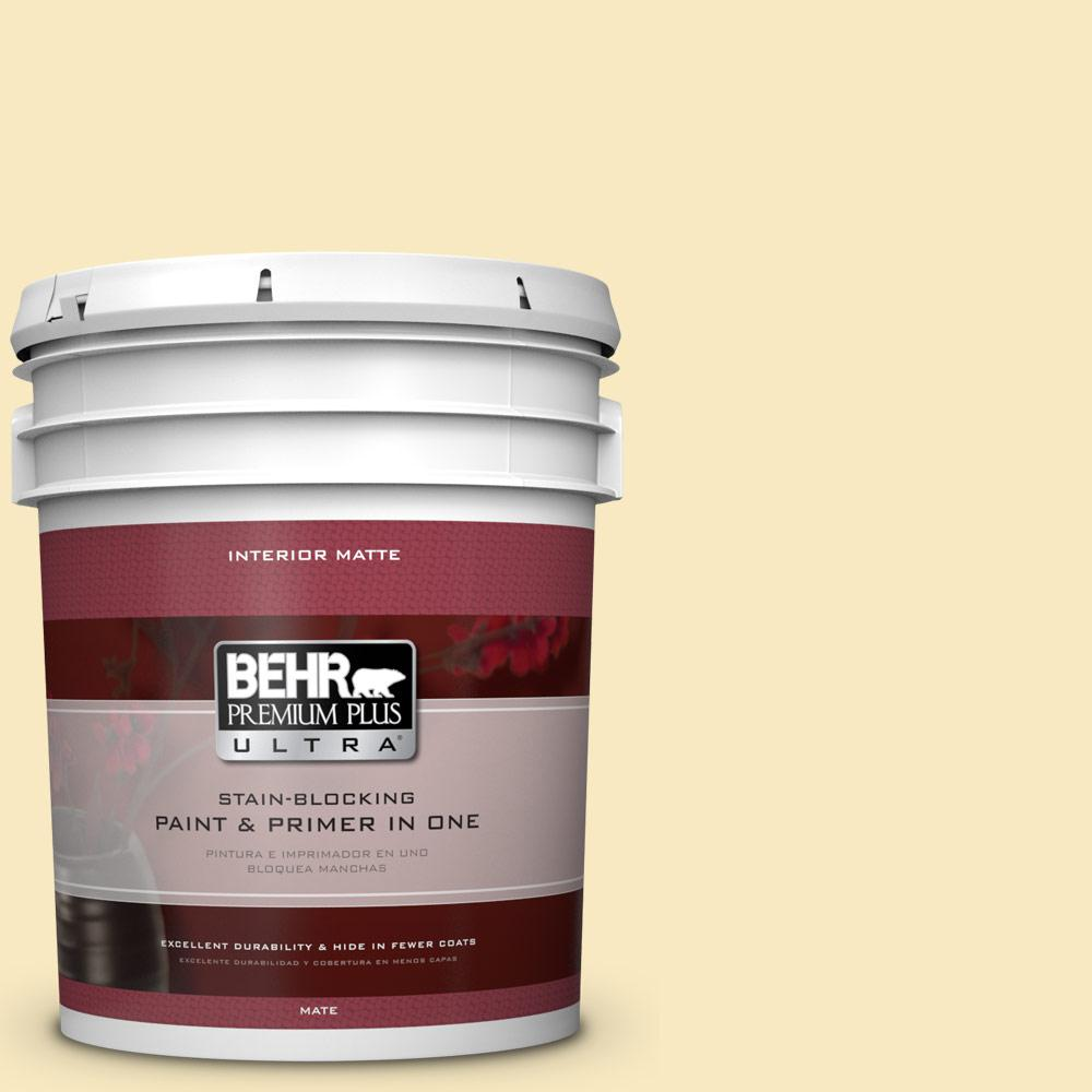 BEHR Premium Plus Ultra 5 gal. #340A-2 Rich Cream Flat/Matte Interior Paint
