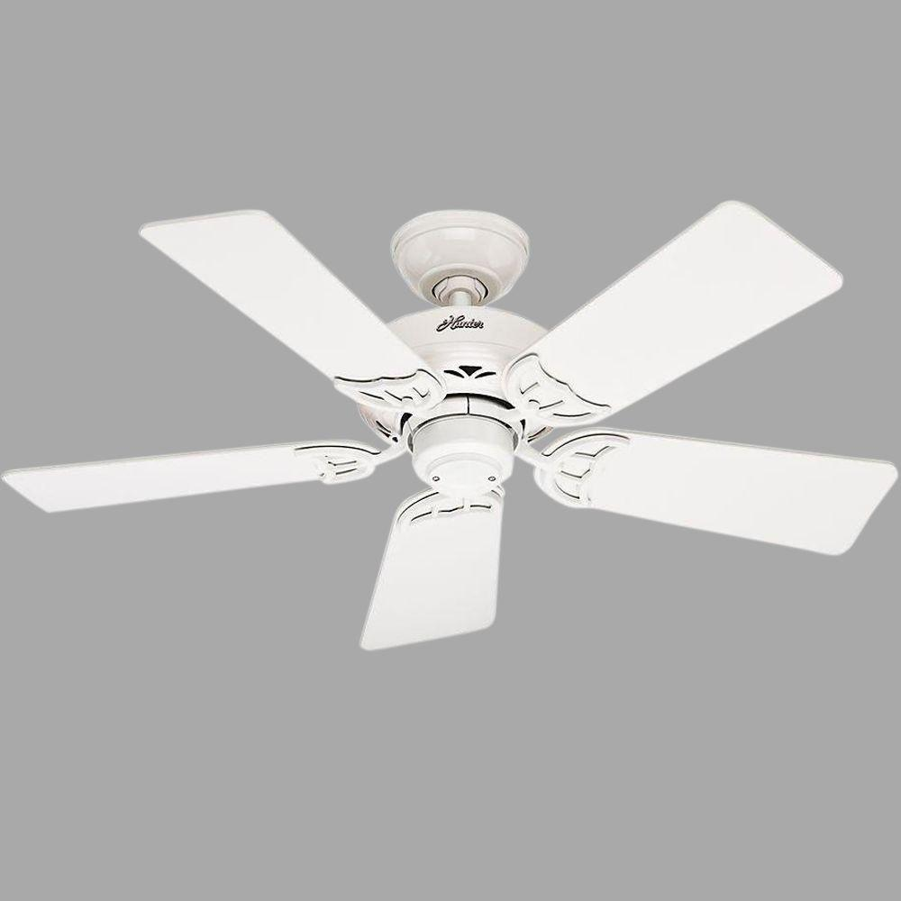 Hugger Ceiling Fans Without Light: Hunter Hudson 42 In. Indoor White Ceiling Fan-52065
