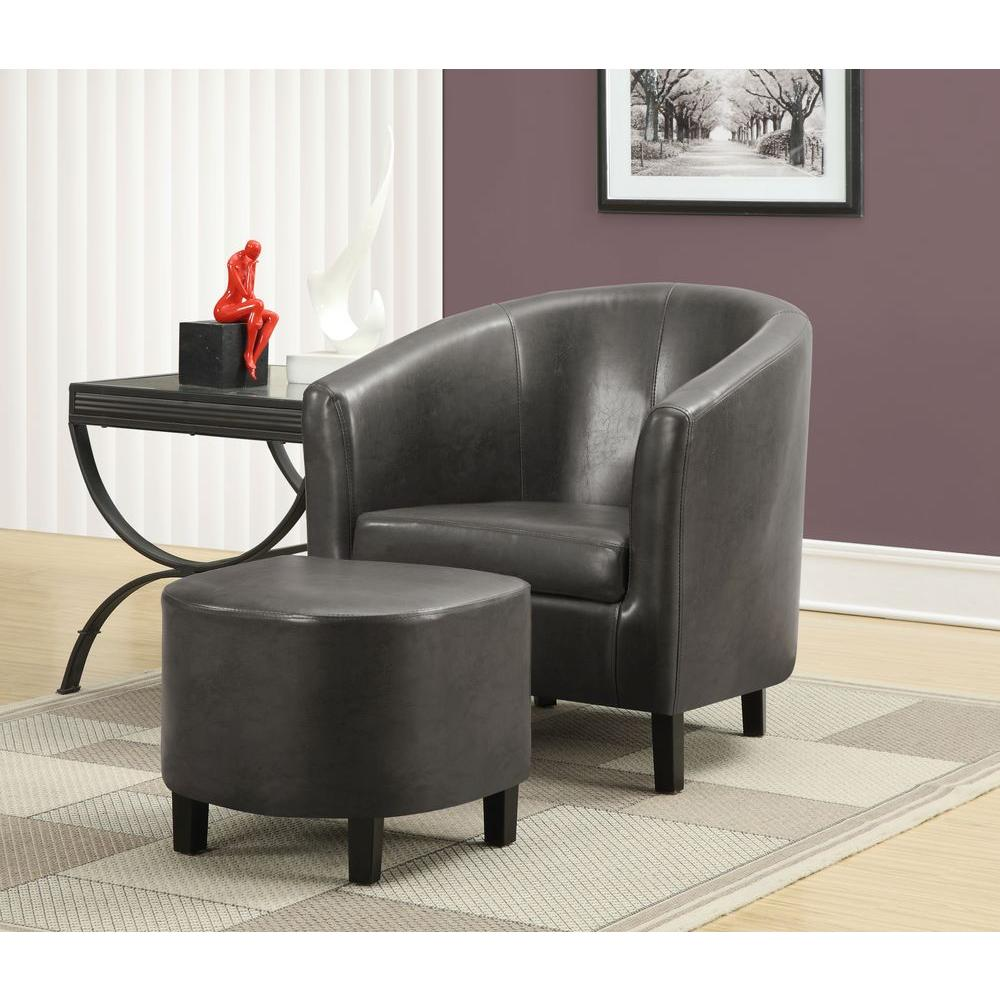 Monarch Specialties Charcoal Grey Arm Chair With Ottoman
