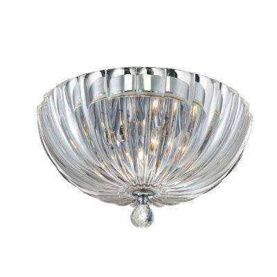 Aurora Collection 2-Light Chrome Clear Flushmount