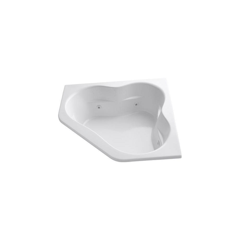 KOHLER Tercet 5 ft. Corner Drop-in Whirlpool Bathtub in White with ...