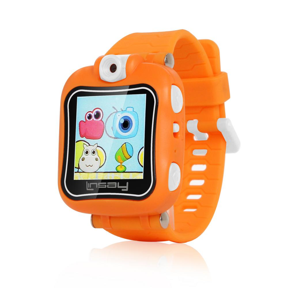 LINSAY 1.5 in. Kids Smartwatch 90-Degree Selfie Camera HD for Videos/Photos Learning Apps in Orange