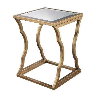 Metal Cloud Antique Gold Leaf And Mirror Side Table