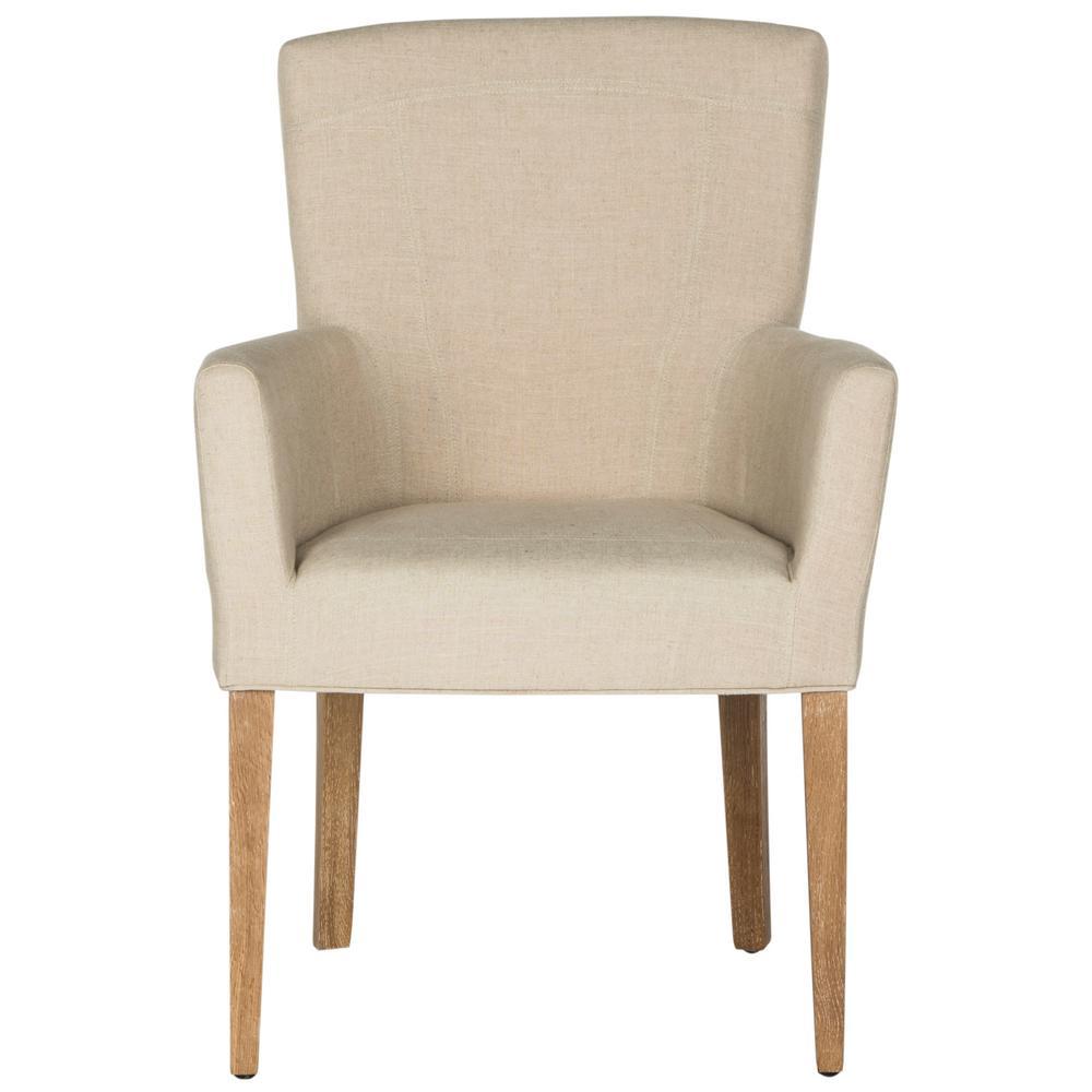 Safavieh dale hemp and white wash linen arm chair mcr e