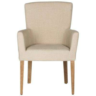 Dale Hemp and White Wash Linen Arm Chair