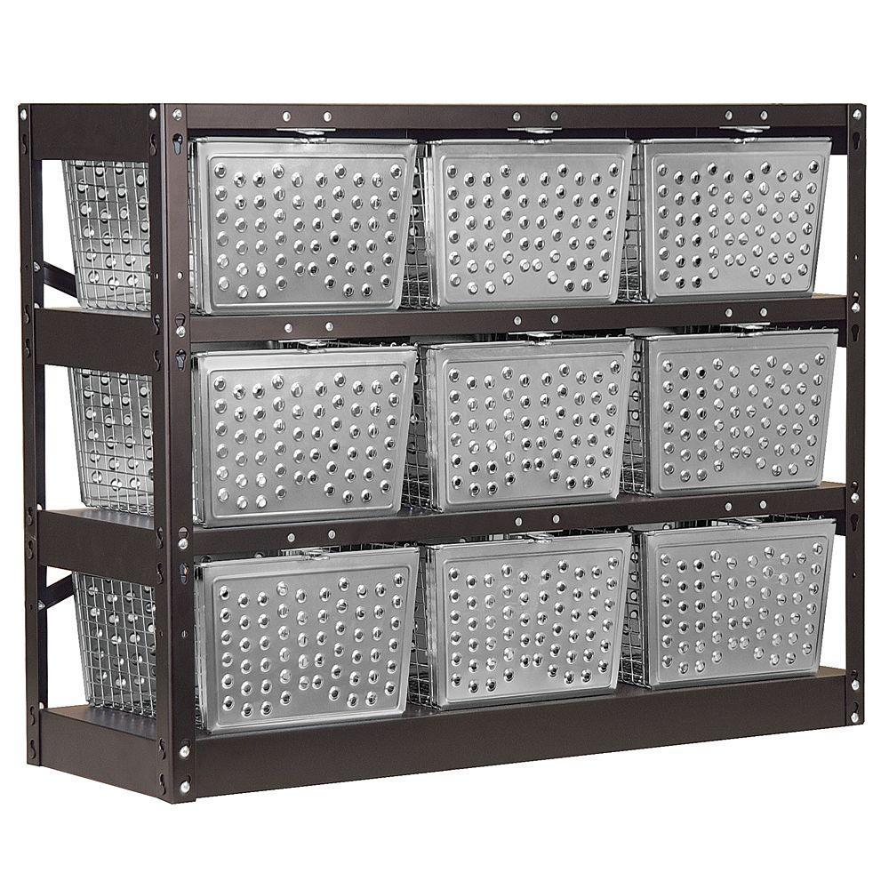 Salsbury Industries 77709 Series 40 in. W x 31 in. H x 13 in. D Unassembled Basket Locker in Silver and Black
