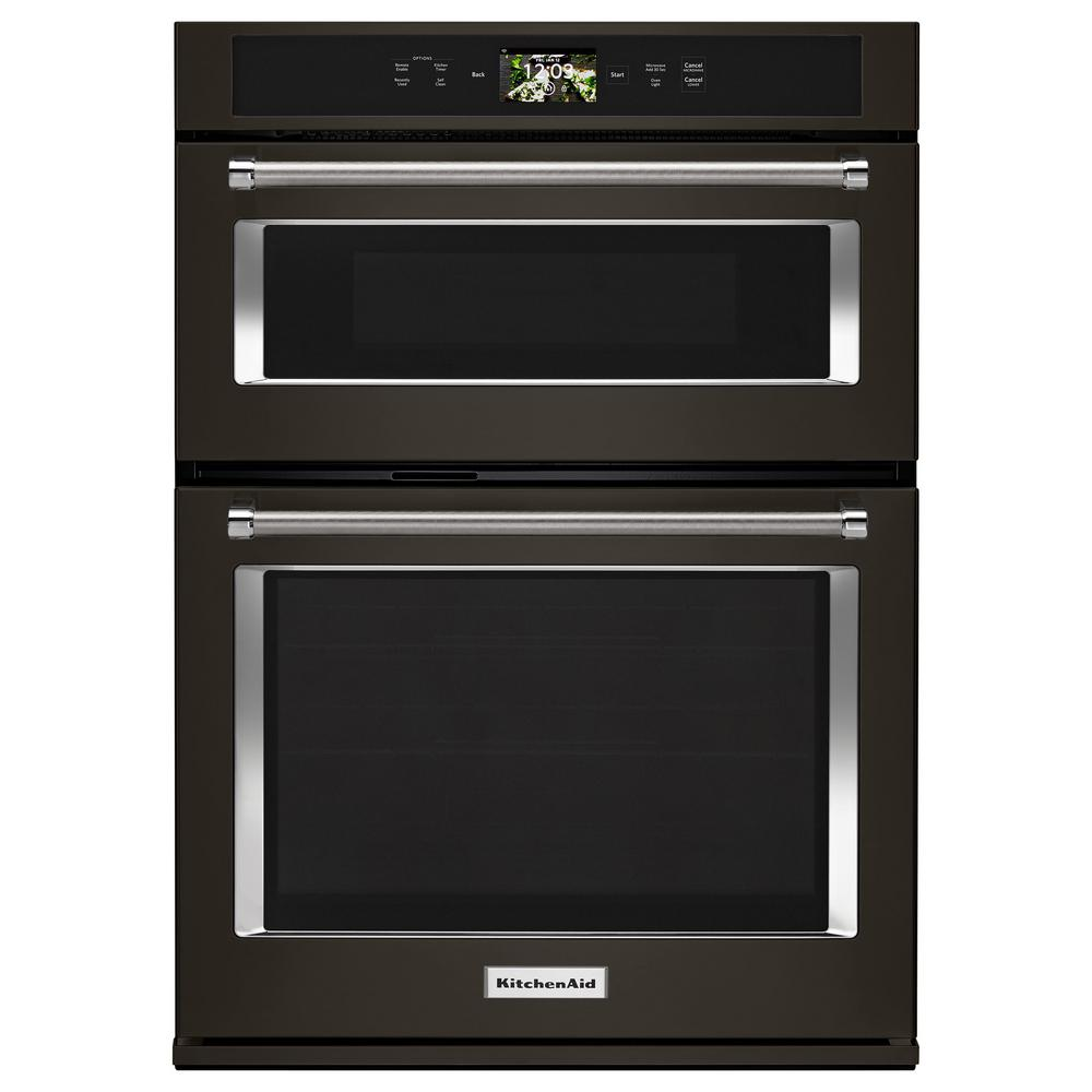 KitchenAid 30 in. Electric Convection Wall Oven with Built-In Microwave and  Powered Attachments in PRINTSHIELD Black Stainless