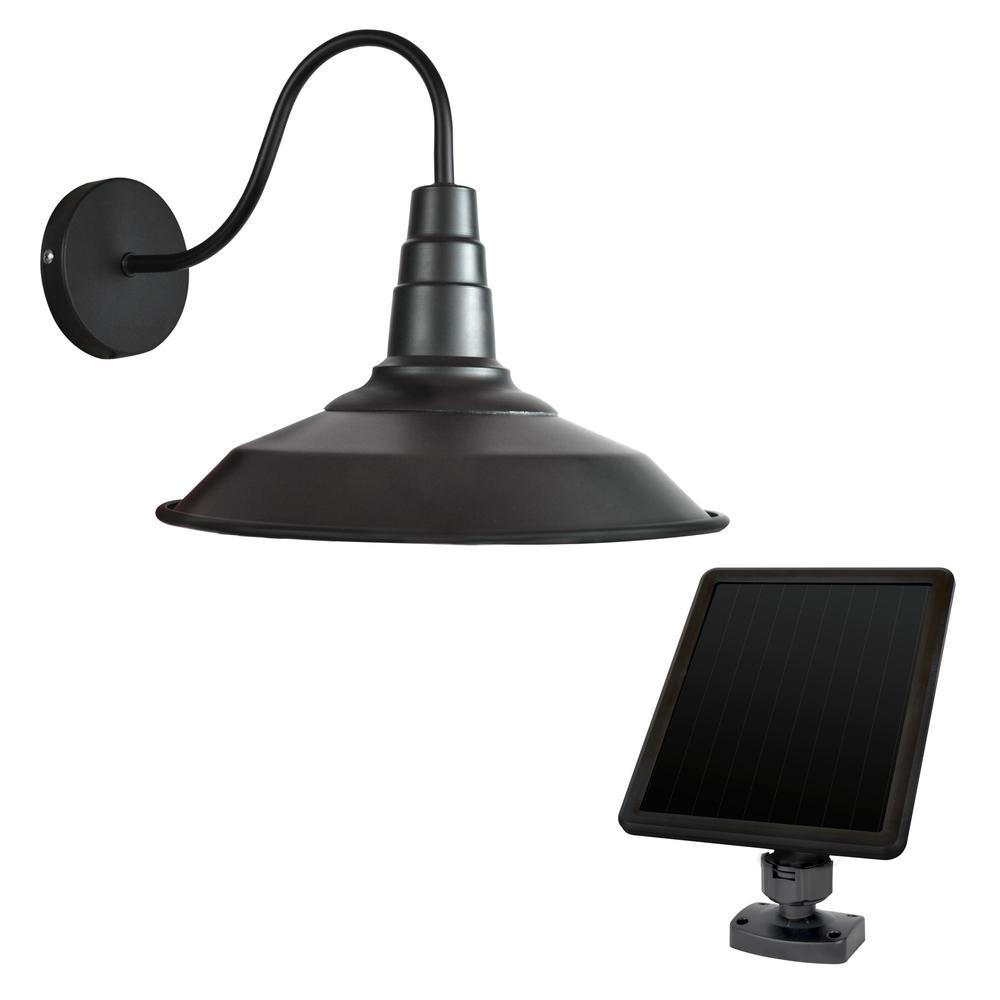 Sunforce Large Black Solar Outdoor Barn Light Sconce 81401 The Home Depot