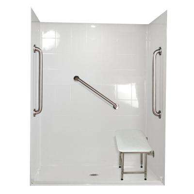 Standard Plus 24/37 in. x 60 in. x 78 in. Barrier Free Roll-In Shower Kit in White with Center Drain