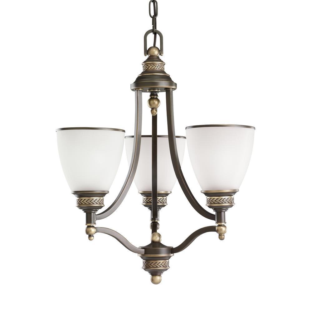 Laurel Leaf 3-Light Estate Bronze Chandelier with LED Bulbs