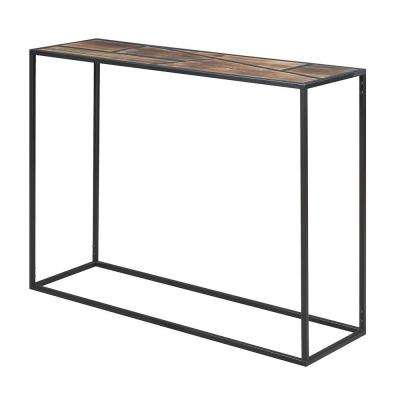 Geo Black with Wood Top Console Table