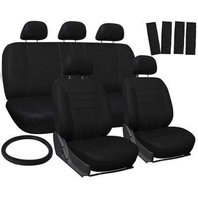 Polyester Seat Covers 26 in. L x 21 in. W x 48 in. H 17-Piece Seat Cover Set Solid Black