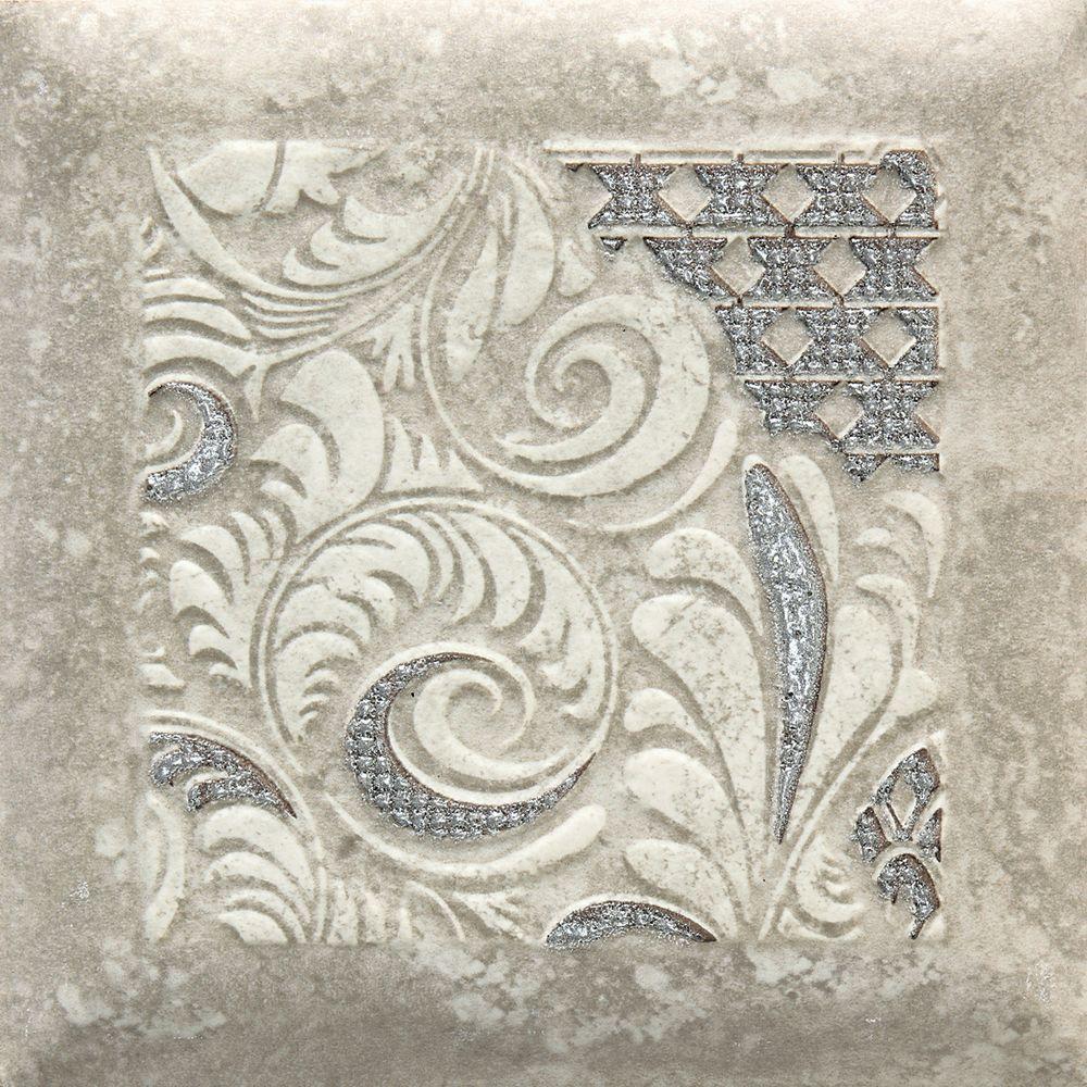 Daltile Del Monoco Leona Grigio 6-1/2 in. x 6-1/2 in. Porcelain Decorative Border Floor and Wall Tile
