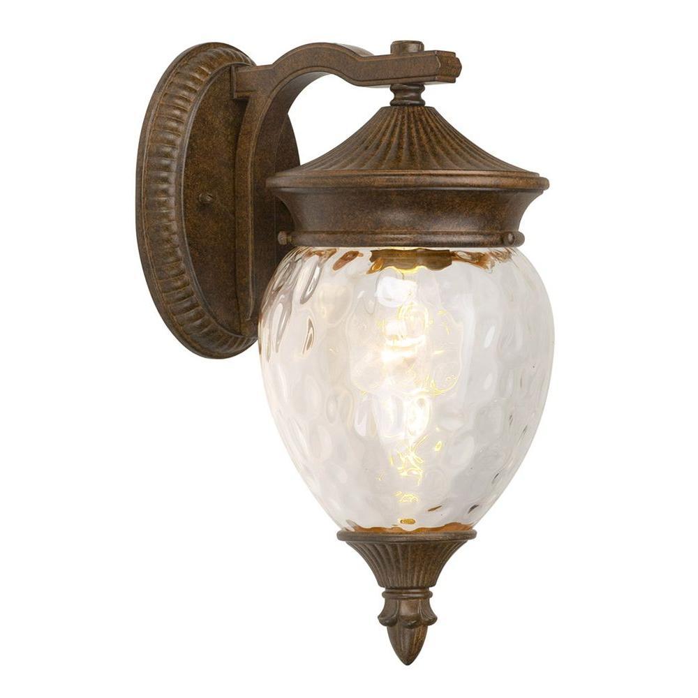 Hampton Bay 1-Light Prairie Bronze Outdoor Medium Wall Mount Lantern