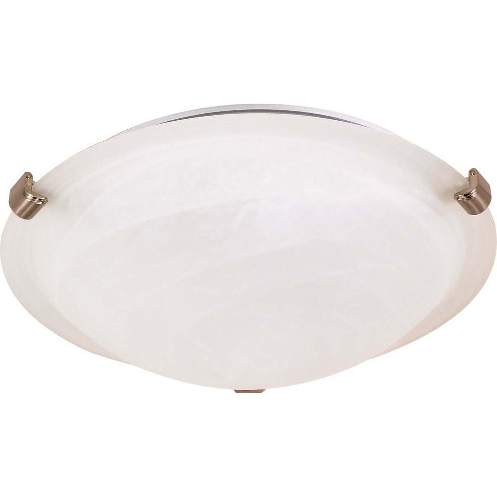1-Light Brushed Nickel Flush Mount with Tri Clip Alabaster Glass
