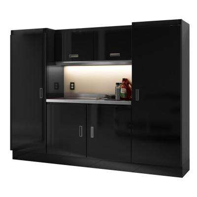 Select Series 75 in. H x 96 in. W x 22 in. D Aluminum Cabinet Set in Black with Stainless Steel Worktop (7-Piece)