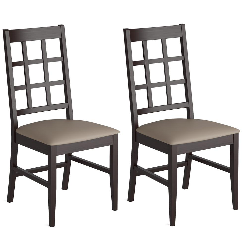 Atwood Cappuccino Stained Wood Dining Chairs with Leather...