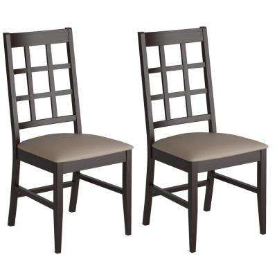 Atwood Cappuccino Stained Wood Dining Chairs with Leatherette Seat (Set of 2)
