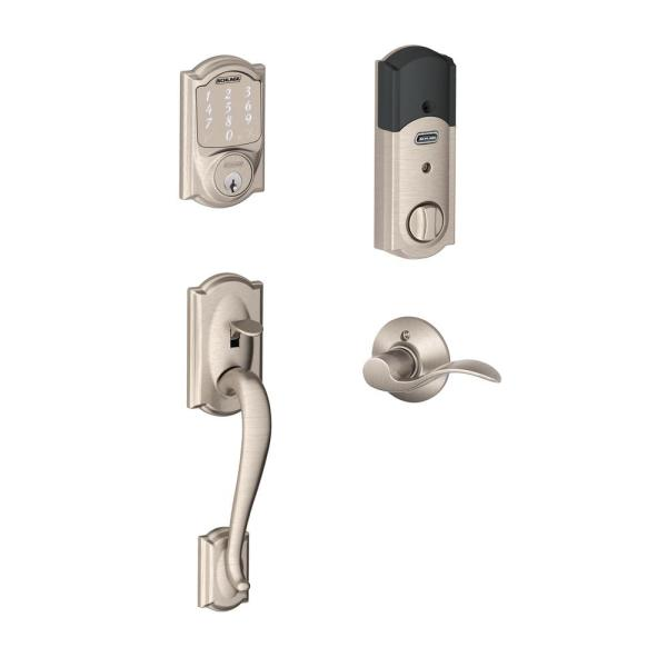 Camelot Satin Nickel Sense Smart Deadbolt and Camelot Handleset with Accent Lever with Camelot Trim