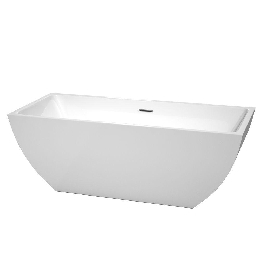 Wyndham Collection Rachel 67 in. Acrylic Flatbottom Center Drain Soaking Tub in White