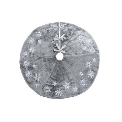 56 in. Snowflake Sequin Soft Plush Furry Round Christmas Tree Skirt in Grey