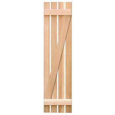 15 in. x 39 in. Pine Board & Batten Z Exterior Shutters Pair